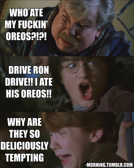 Vernon Dursley: Who ate my fuckin' oreos?!?!  Harry Potter: Drive Ron drive! I ate his oreos!! Ron Weasly: Why are they so deliciously tempting?